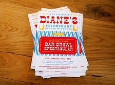Circus-Theme Bar Crawl Party Invitations | Oh So Beautiful Paper #invitation #design #graphic #circus #wood #type #typography