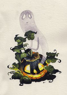alliebirdseed: Inktober day14 - Punkin ghost! #ghost #halloween #pumpkin #supernatural #spectre #illustration #spooky #ghoul