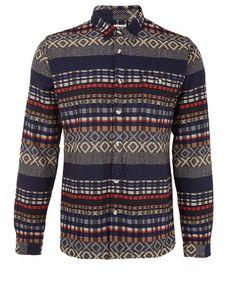 Navy Ikat Check Pattern Shirt #stripe #ikat #shirt