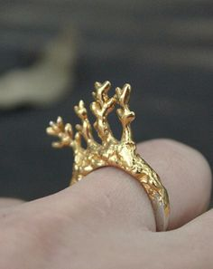Twigs in a ring Sterling silver ring with 24K gold by ikcha