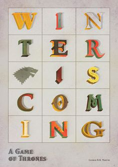 ANONYMOUS MAG x A Game Of Thrones #colourful #hbo #lettering #television #cold #illustration #series #typography