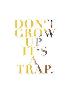 Don\'t grow up i\'ts a trap.