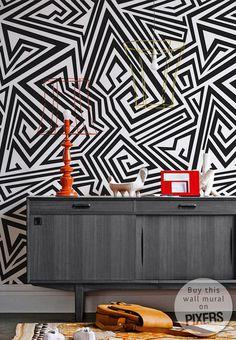 Maze #interior #white #pattern #mural #design #decor #black #home #wall