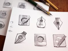 Mac Icon Sketching #guitar #sketches #icon #camera #appstore #book #icons #notes #app #music #pencil #mac