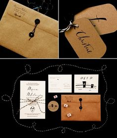 Whimsical Stationery from Papermade | Snippet & Ink #black #stringbutton #invitations #kraft #invites