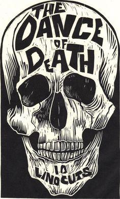 Designersgotoheaven.com #illustration #linocut #skull #typography