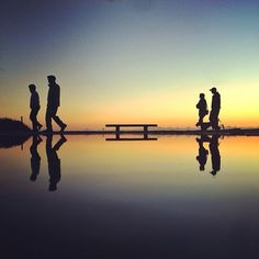 David Marchinek #sunset #silhouettes #horizon #reflections