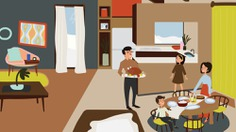 60s Thanksgiving Dinner family illustration / For Smart Home, church design   By Brittany Byrne   retro, mid-century, holidays
