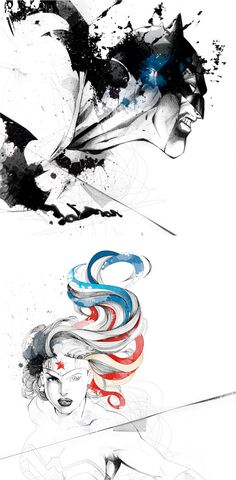 Illustrations by David Despau #watercolors #wonderwoman #batman #illustration #art #pen #fashion #usa