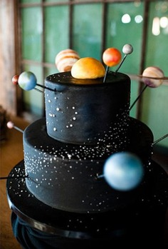 Beautiful Wedding Cakes for Every Season - outer space theme birthday party ideas
