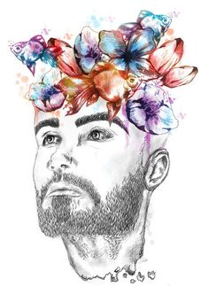 Cooperation with fashion bloger VANITASFanpage VANITAS:www.vaniitas.blogspot.com #project #eyes #beard #design #orange #illustrations #illustrator #art #purple #logo #blue #flowers