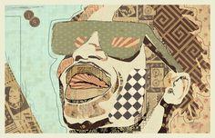 """""""LaFlame"""" www.KyleMosher.com #kylemosher #newspaper #hiphop #illustration #portrait #vintage #art #rap"""