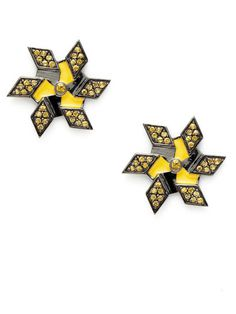 M.C.L. By Matthew Campell Laurenza Windmill Yellow Enamel #fashion #earrings #star