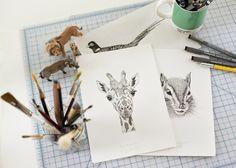 workspace - ceciliahedin.com #workspace #giraffe #illustration #desk #animals #drawing