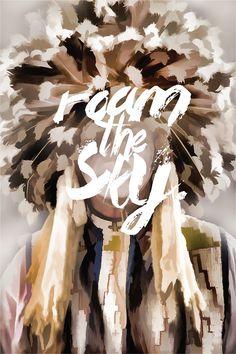 Roam the sky #american #portrait #handtype #painting #native