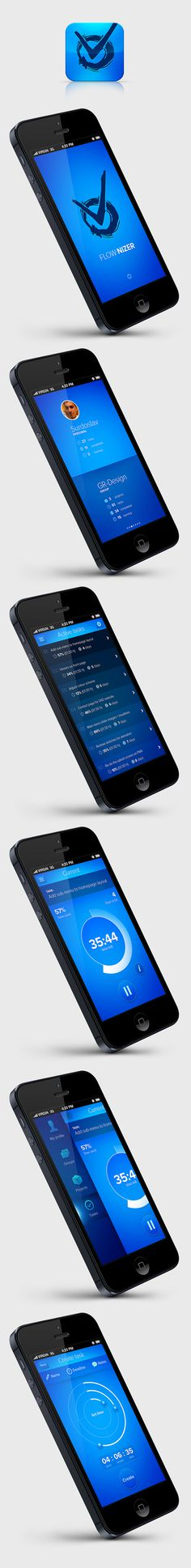 FLOW.NIZER concept app on Behance #ios #app #ui