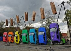 Hung Out to Dry | Colossal #cars #rainbow #pantone
