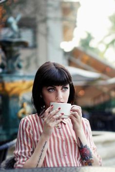 Drops Of Jupiter: tattoos (on wednesday.) #girl #photo #eyes #stripes #retro #coffee #tattoo #tea #fashion #nails