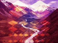 Lou Madhu #abstract #geometric #landscape #orange #purple #mountains #diamonds #lou madhu
