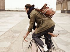 man #fashion #man #jacket #backpack #outside #bycicle