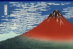 Hokusai - Red Southern Wind on Mt Fuji on a Clear Morning #red #print #design #graphic #japanese #illustration #hokusai #woodblock #blue