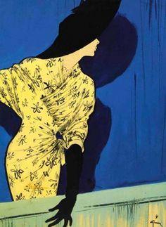 rene gruau #rene #yellow #gruau #illustration #vintage #fashion #blue