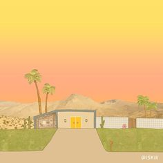 mid-century modern series #1: palm springs. illustration by @ISKIII www.iskistudio.com