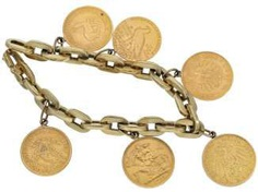 Bracelet: gold coin bracelet with different gold coins, vintage handmade