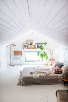 Attic bedroom. Via designsponge.com. #bedroom #attic