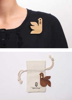 Teardrop Brooches « Eight:48 #wood #brooches #bird