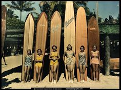 Vintage Waikiki Surfer Girls Wallpaper #hawaii #vintage #surf #babes