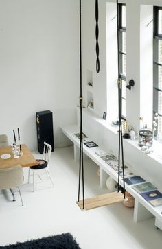 CJWHO ™ #diningroom #white #design #photography #architecture #swing #fun