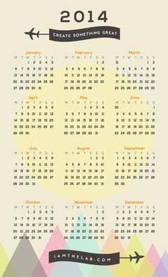 Create Something Great 2014 Calendar #calendar #design #graphic #2014 #poster #art
