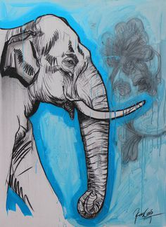 "Acrylic 2014 Painting ""Majesty IX"" #drawing #elephant"