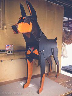 Tumblr, doberman.photos, shinyblackdeer #cardboard #dog #doberman