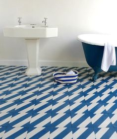 patterned bathroom tiles | Pattern on Pattern #bath #pattern #bathroom #home #tile