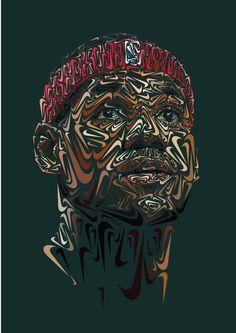 The Nike Portraits https://www.behance.net/AndyGellenberg #illustration #poster #vector #portrait #pattern #face #nike #jordan #james #lebro