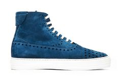 Image of Alexander McQueen Blue Suede Perforated High Top Sneakers #shoes #white #holes #perfs #perforation #contrast #blue #awesome