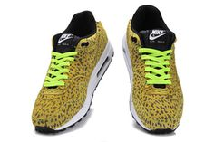 Men Sports Shoes Air Max 1 FB in Yellow Leopord - Volt/White and Black Colorways #shoes