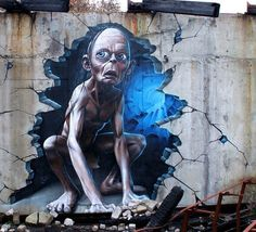 Gollum from Lord of the Ring in street art #graffiti #realism #street #art #realistic