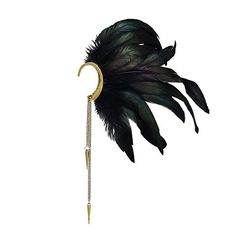 L'vow Women' Natural Feather Chain Dangle No Piercing Cuff Earrings Wrap (Black - Left ear)
