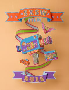 Official SXSW Film Festival Poster By Zim and Zou #festival #design #graphic #sxsw #craft #poster #film #papercraft