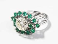 Diamant-Smaragd-Ring