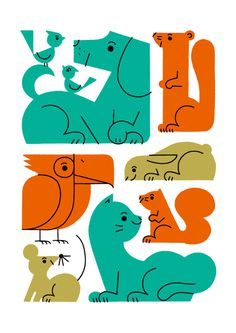 illustration, animals, shunsuke satake #illustration #dog #squirrel #cat #mouse #bunny #bird