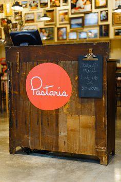 Pastaria brand identity design #logotype #circle #script #red #orange #monoweight #logo #typography