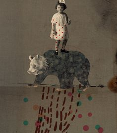 "Emmanuel Polanco / Milk ""La place du père"" / colagene.com #family #child #father #illustration #bear #naive #collage"