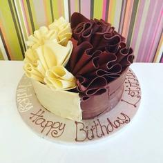 Half-n-Half birthday cakes