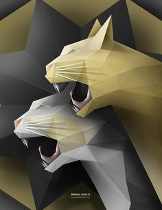 Geometric Cats #facets #illustration #cats #poster