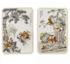 Pair of large plates with monkeys and deer #porcelain