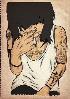 Untitled | Flickr Photo Sharing! #illustration #smoking #tattoo #girl